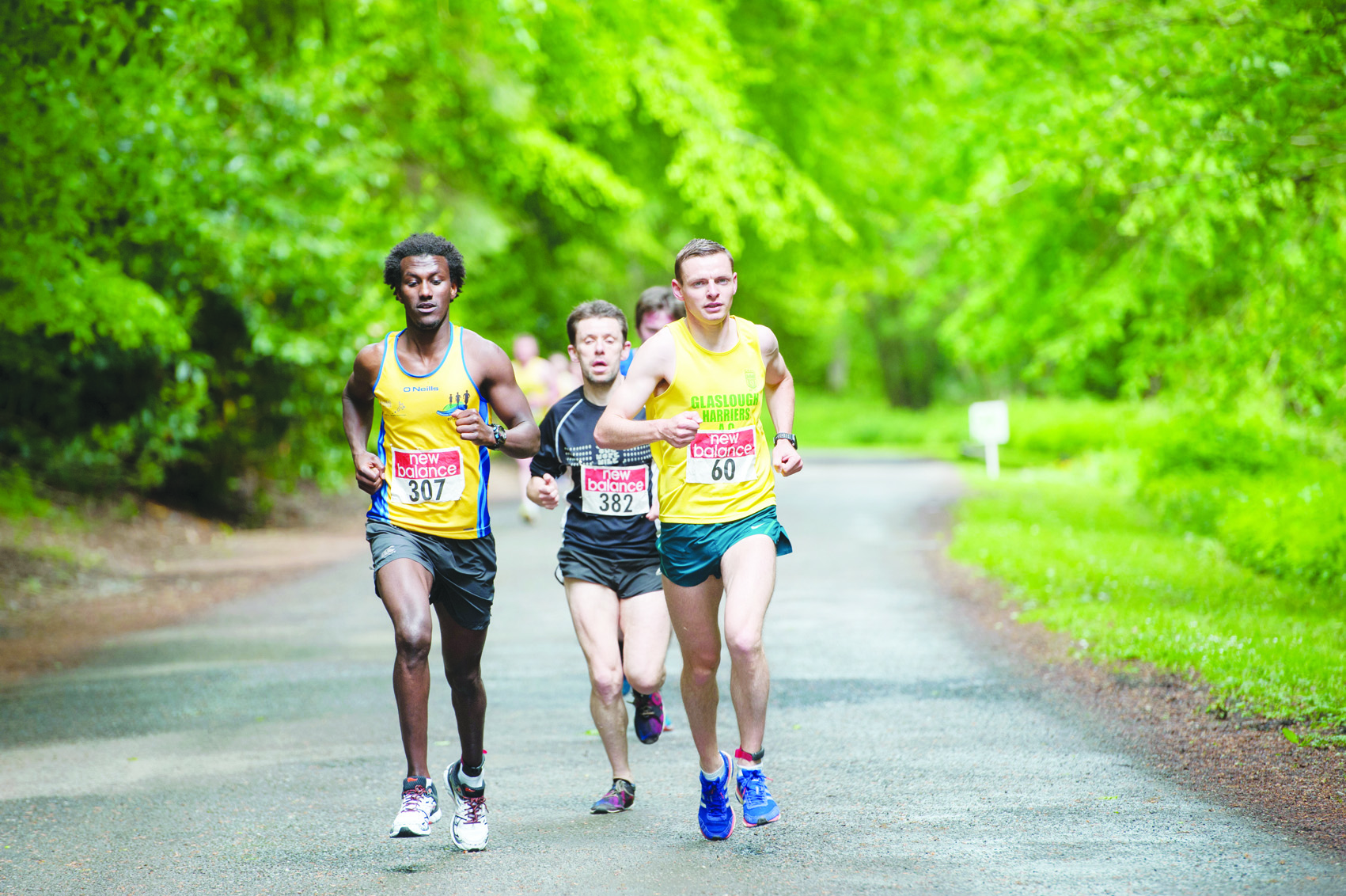The lead group of Conor Duffy, Eskander Turki and Brian McCluskey, as the entered Rossmore Park. ©Rory Geary/The Northern Standard