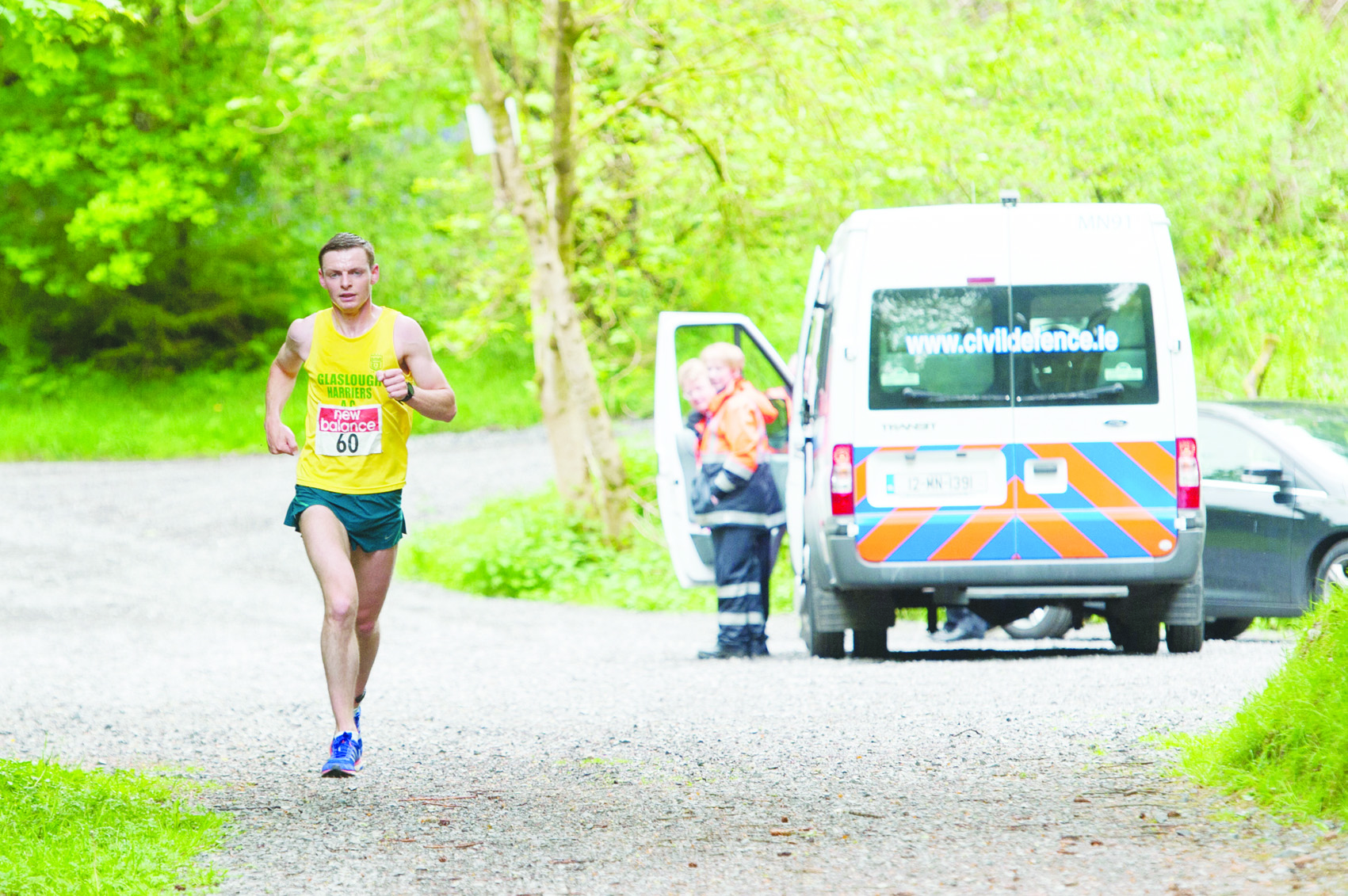 Winner of the 10th Blackwater 10k, Conor Duffy, Glaslough Harriers, during the Rossmore Park section. ©Rory Geary/The Northern Standard