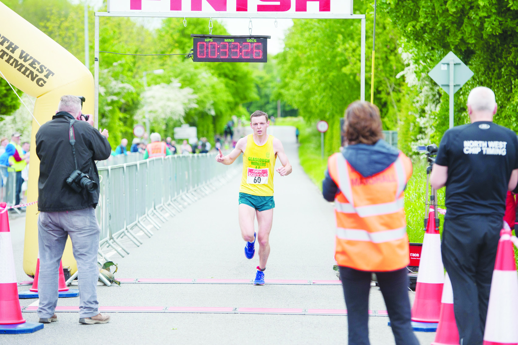Winner of the 10th Blackwater 10k, Conor Duffy, Glaslough Harriers,as he crossed the finish line. ©Rory Geary/The Northern Standard