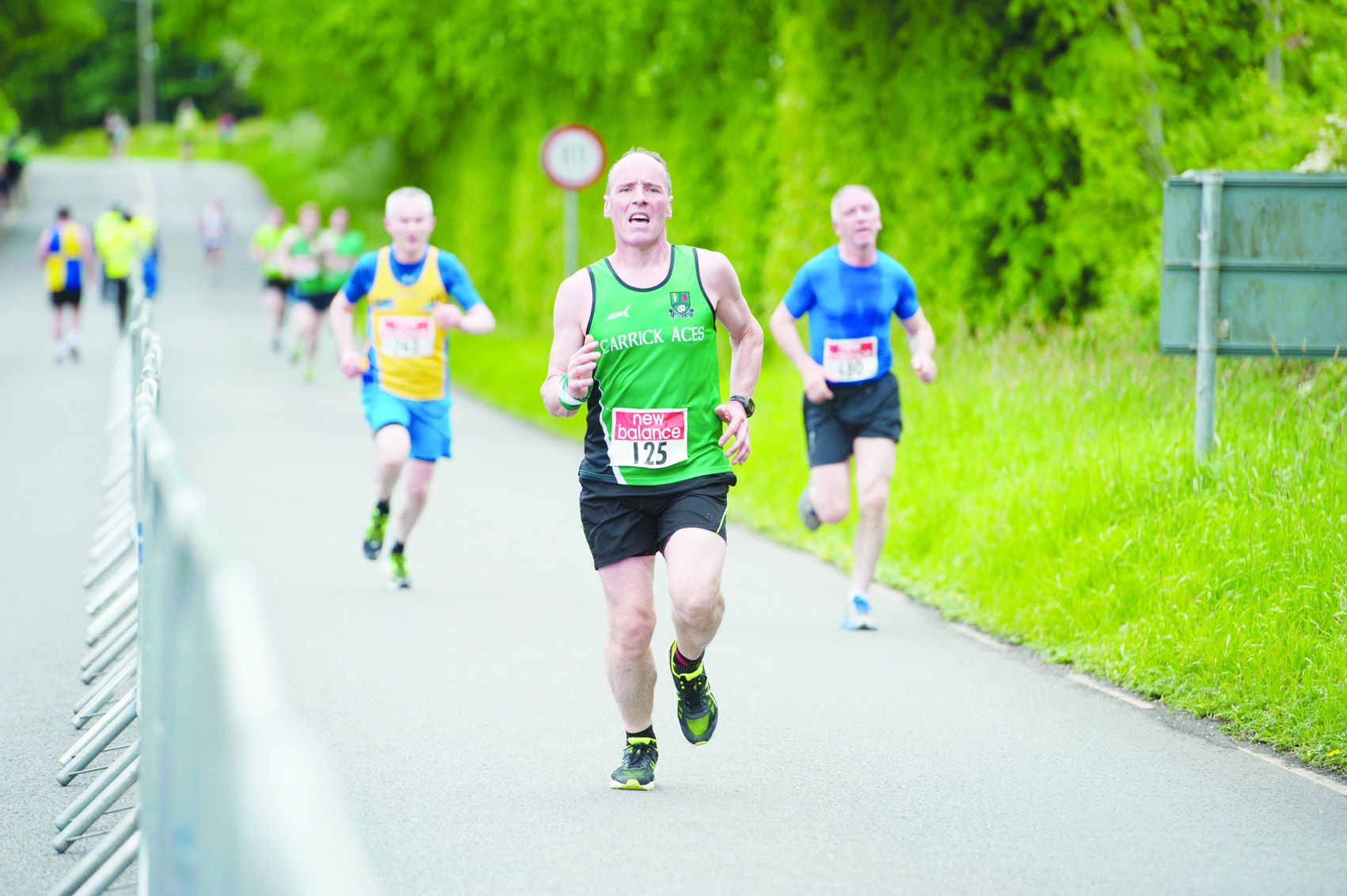 Damian Martin from Carrick Aces as he finished the Blackwater 10k. ©Rory Geary/The Northern Standard