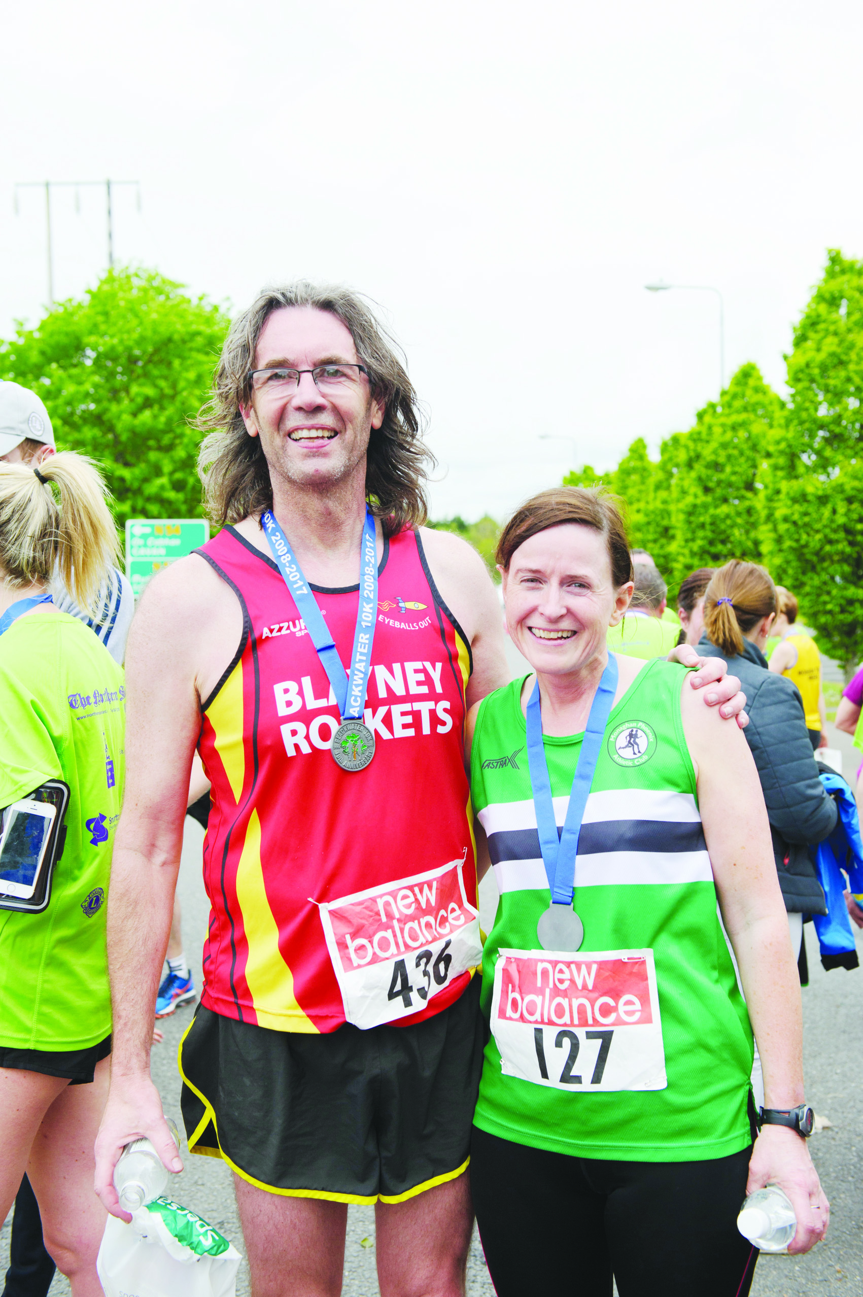 Aidan Campbell, Blayney Rockets and Marie McArdle, Monaghan Phoenix AC, who both have completed all 10 of the Blackwater 10k runs. ©Rory Geary/The Northern Standard