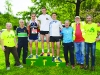 At the presentation of the prizes to the mens winners of the Blackwater 10k were (L-R) Eamon Hackett, Jerome Savage, Paul Magee, Shercock AC, 2nd, Conor Duffy, Glaslough Harriers, 1st, James Treanor, Shercock AC, 3rd, Peter McKenna, Michael McCarthy, Monaghan Mens Shed and Sean Conlon. ©Rory Geary/The Northern Standard