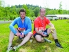 Sean McKenna and Adrian Larkin taking a rest after running the Blackwater 10k. ©Rory Geary/The Northern Standard