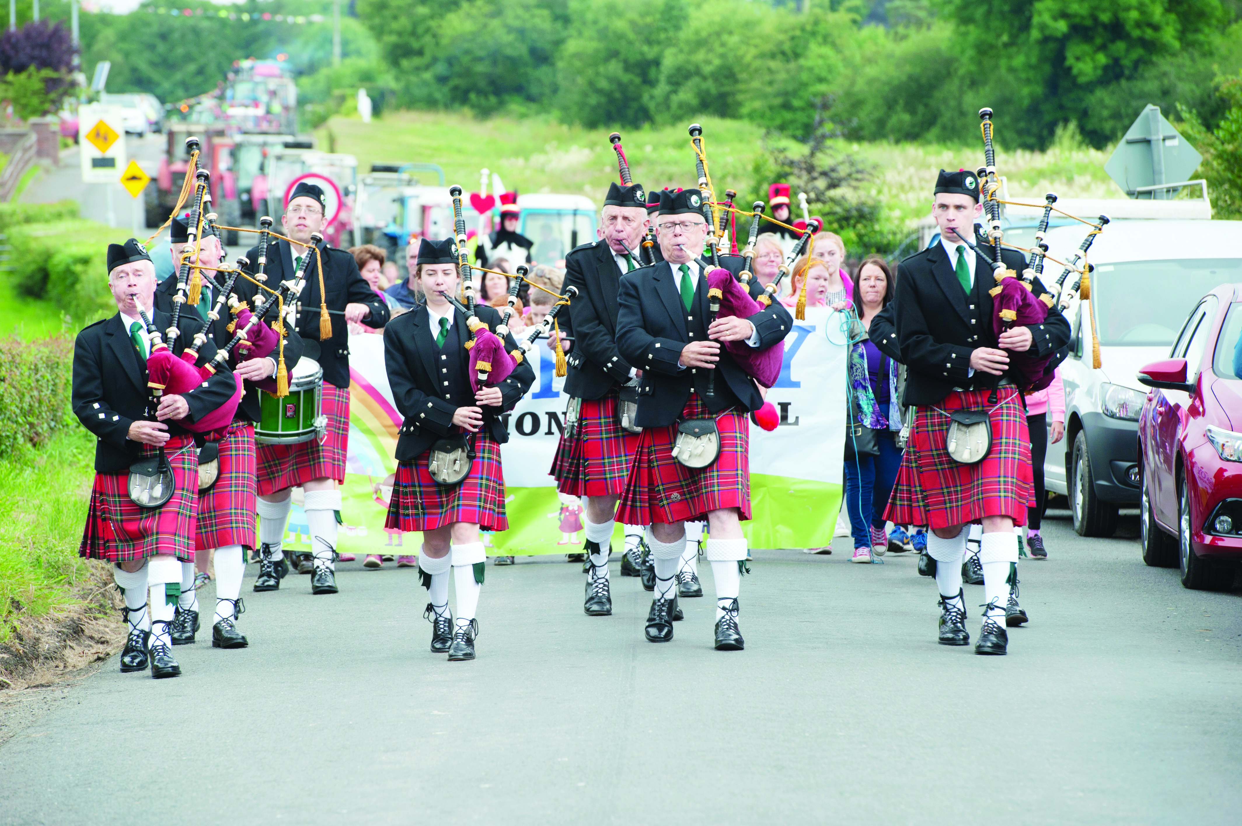 The Brantry Pipe Band leading the parade at the start of the Carrickroe Welcome Home Festival sports day. ©Rory Geary/The Northern Standard