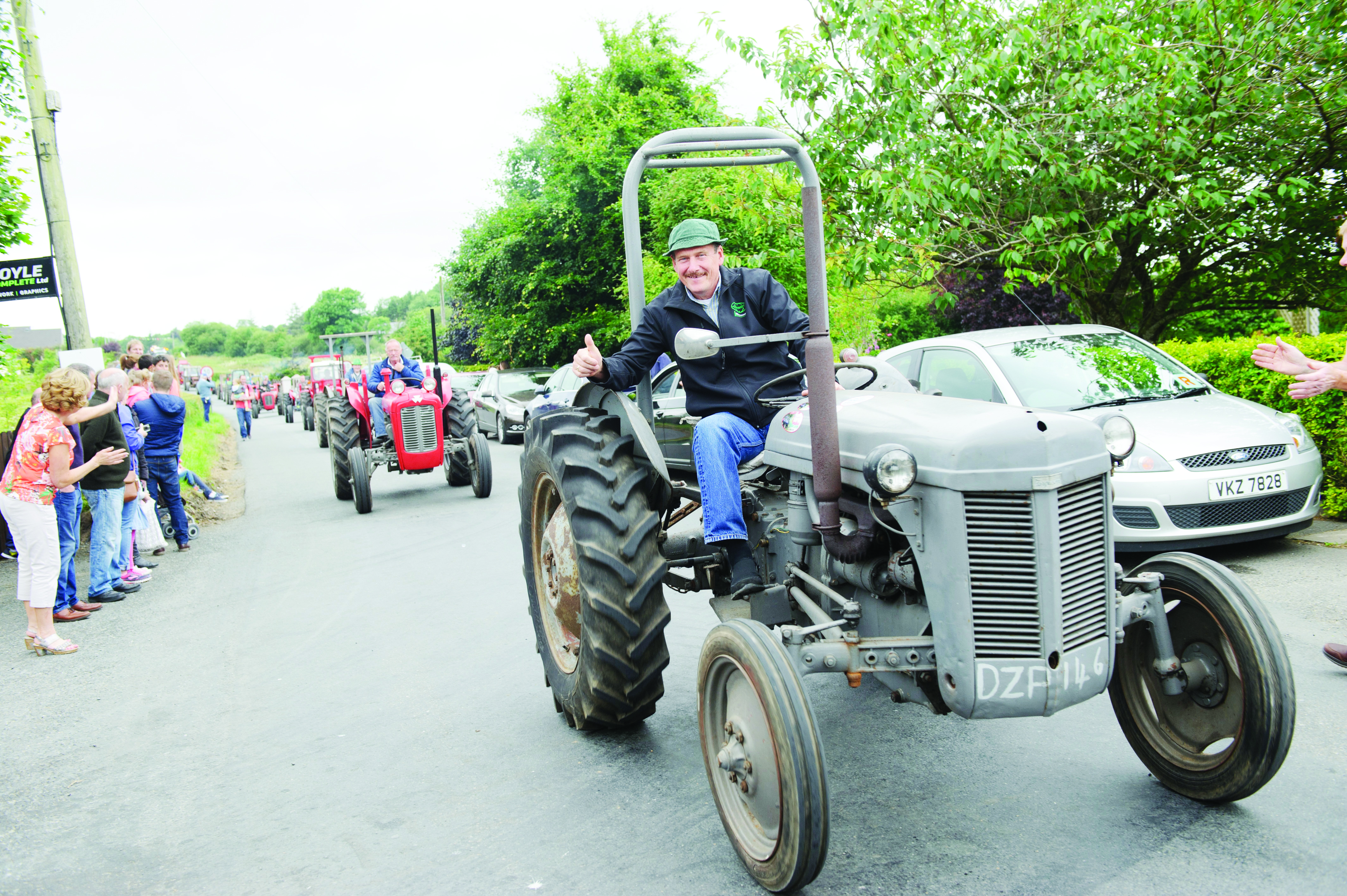Brian McMeel taking part in the tractor run at Carrickroe Welcome Home Festival. ©Rory Geary/The Northern Standard