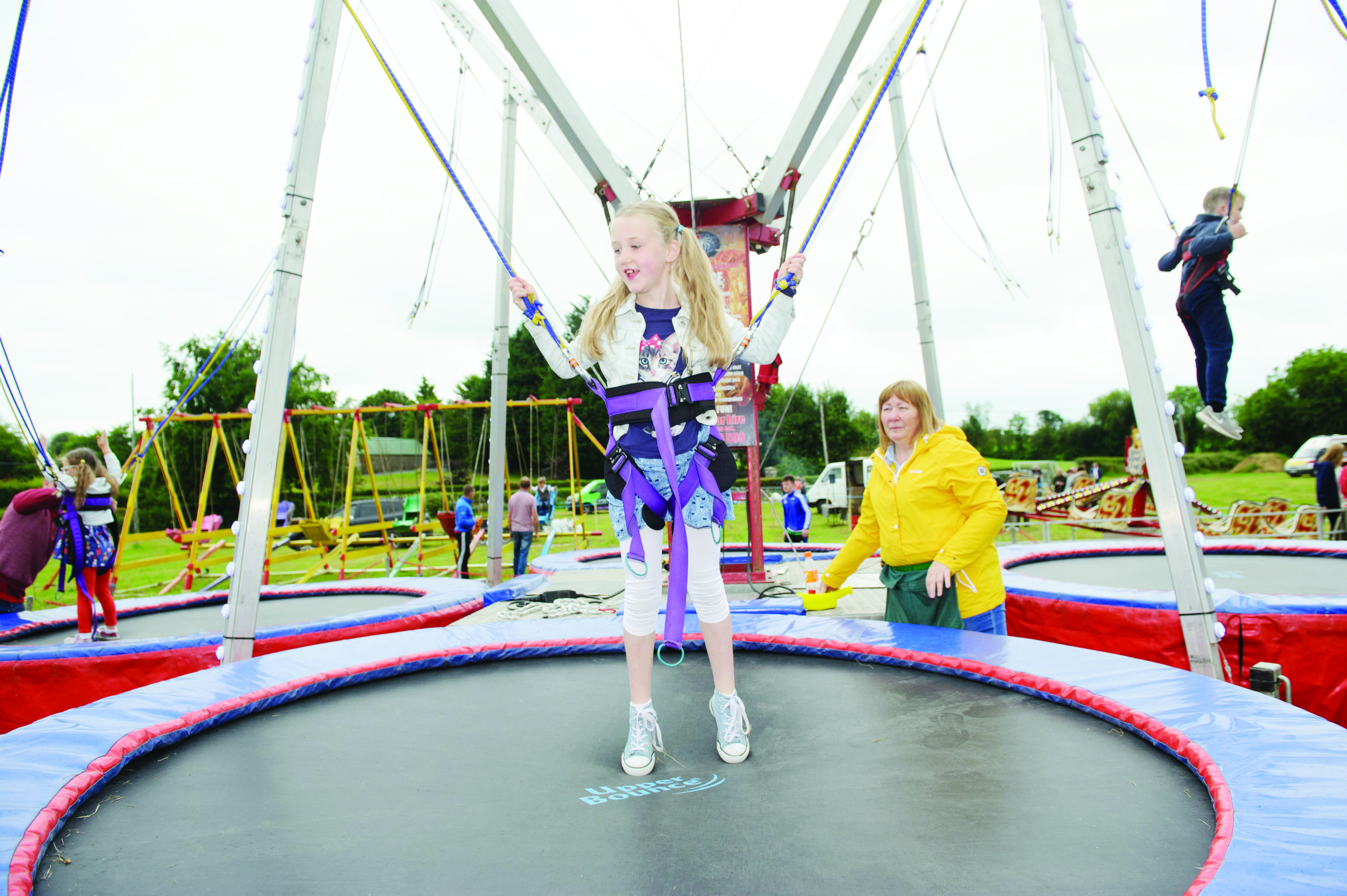 Ashling McCarten on one of the trampolines at the sports day. ©Rory Geary/The Northern Standard