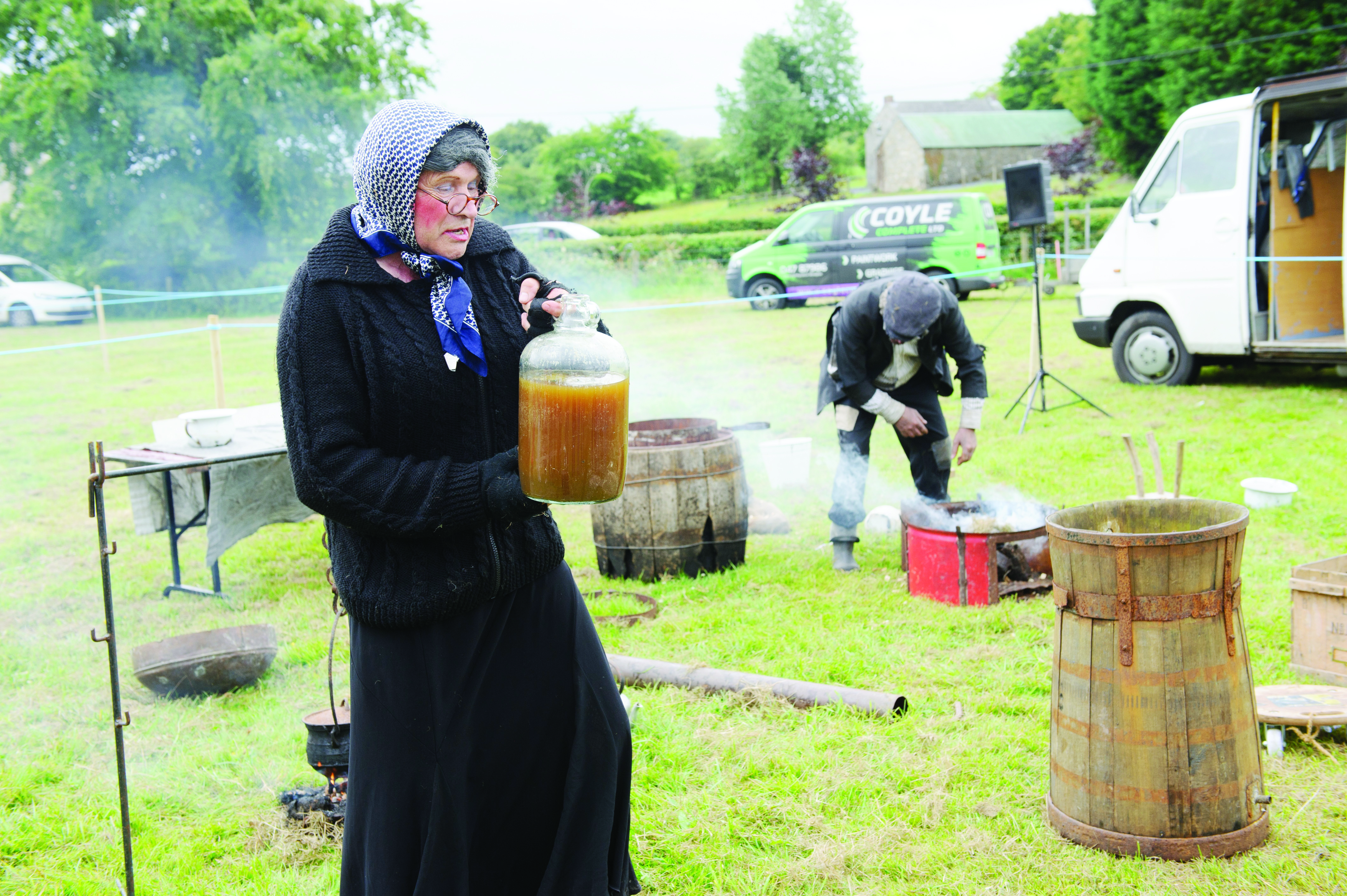 Molly and Johnny McKitterick giving a demonstration of how to make poteen. ©Rory Geary/The Northern Standard