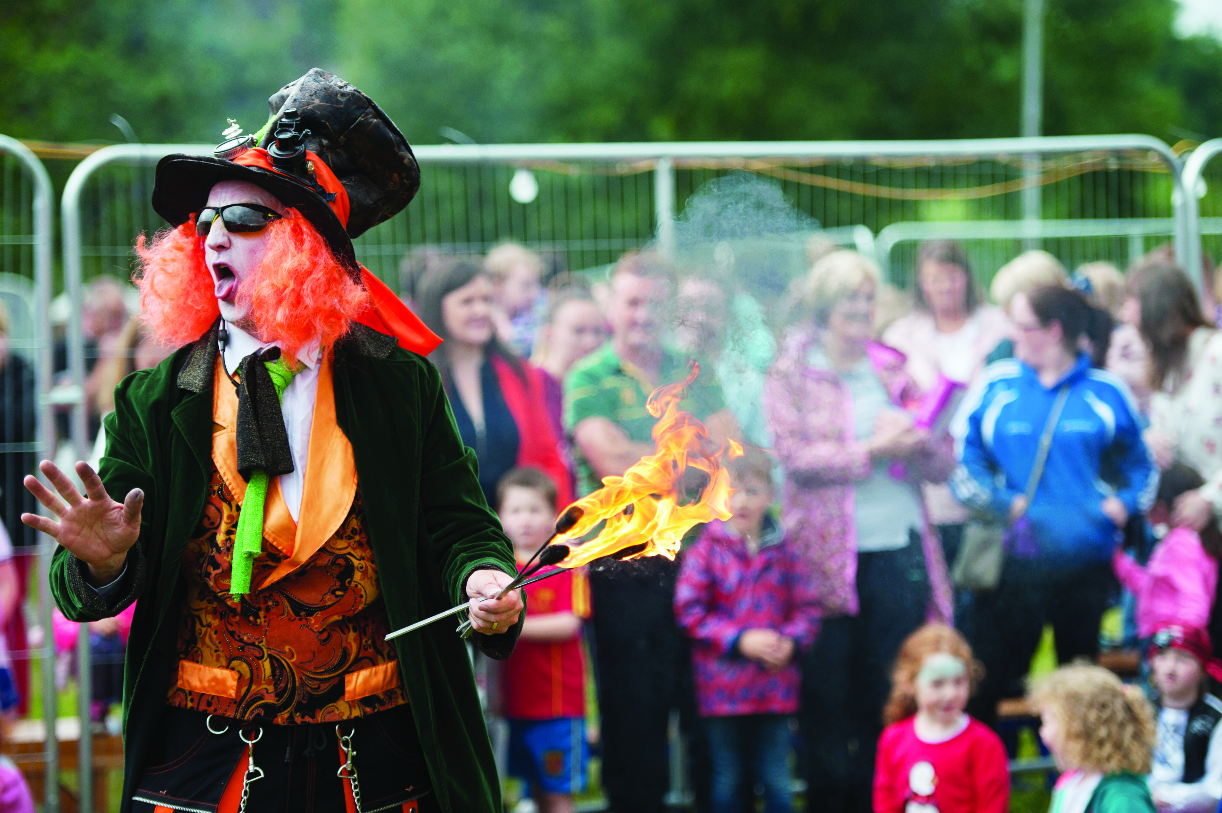 One of the Corvenieos during a fire eating act at the Carrickroe Welcome Home Festival. ©Rory Geary/The Northern Standard