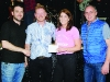 Winners of the jiving competition with John McAleer and Ashling McGinley, receiving their prize from Darren Feeley, left, Carrickroe Welcome Home Festival and Gerard Butler, right, judge. ©Rory Geary/The Northern Standard