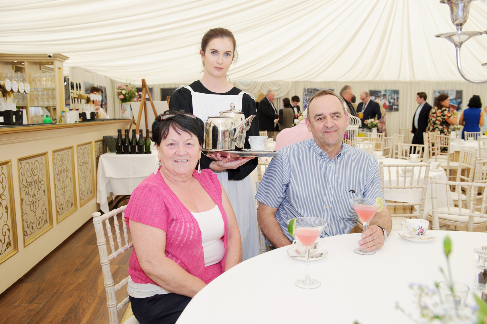 Patrice McKenna, centre, with Rita and Noel Heasley, at the tea-party to celebrate 25 years of the tea-rooms at Castle Leslie. ©Rory Geary/The Northern Standard