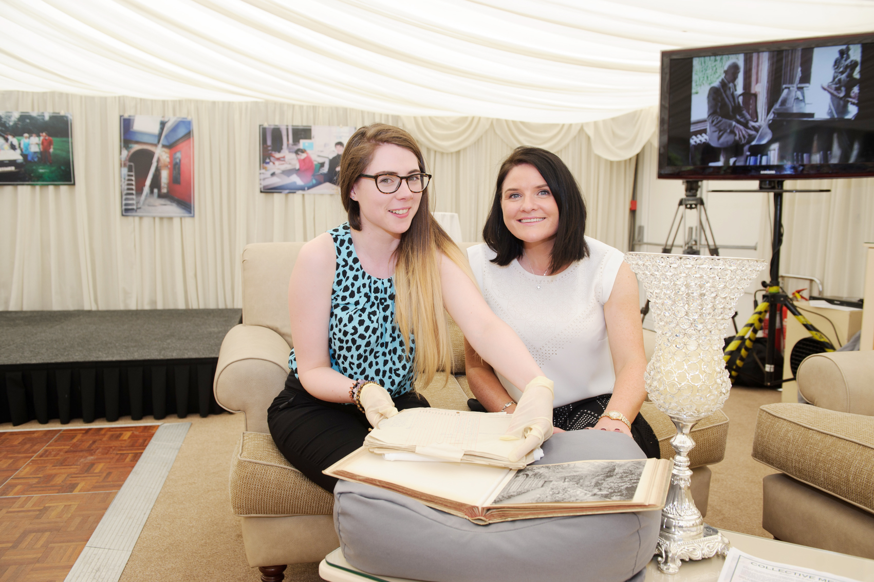 Yvonne Kelly, Castle Leslie archive with Eimear Winters, Castle Leslie Estate, with some of the castle's archive that they had on display at the anniversary party for the tea-rooms. ©Rory Geary/The Northern Standard