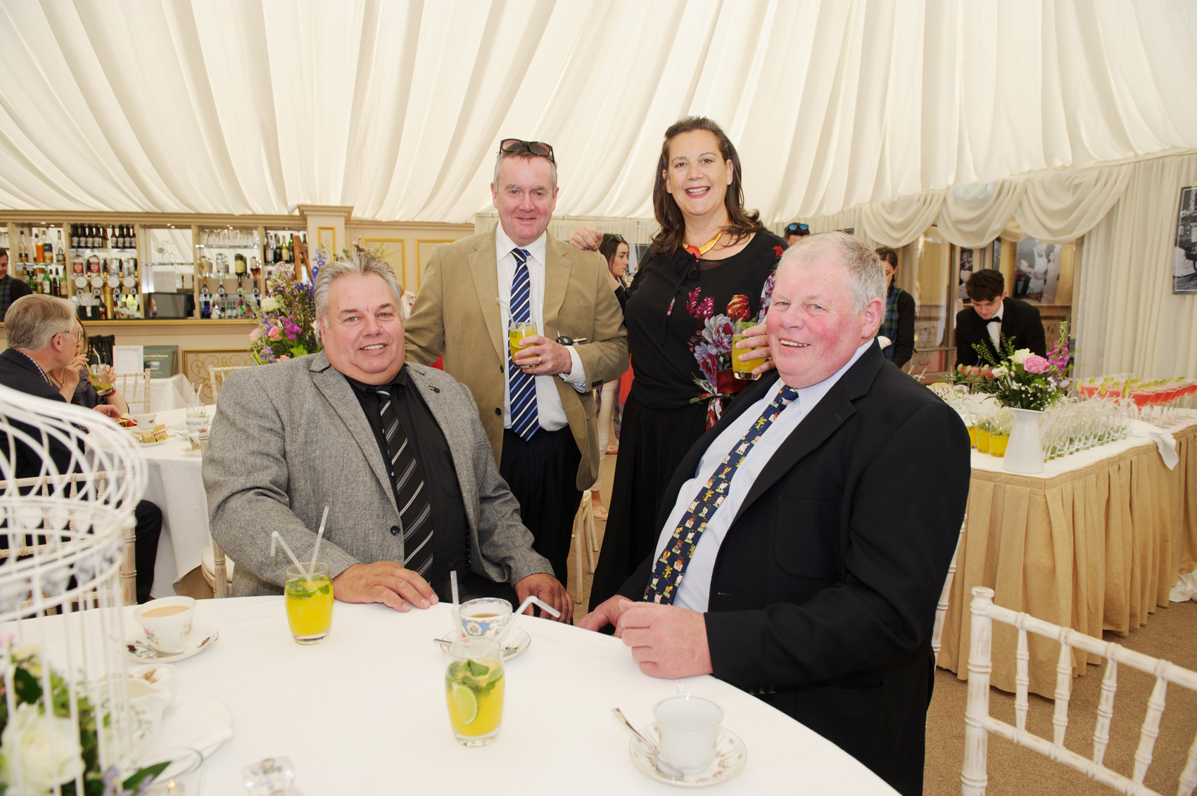 At the victorian tea party at Castle Leslie last week were (L-R) Kenny Boyd, Barry McKenna, Samantha Leslie and Davy Boyd. ©Rory Geary/The Northern Standard