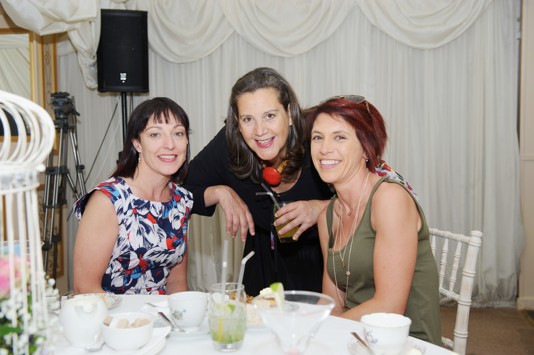 Samanatha Leslie, centre, at the tea-party that was held to celebrate the 25th anniversary of the opening of the tea-rooms with former staff members, Barbara Sheridan and Michelle Morrisroe. ©Rory Geary/The Northern Standard