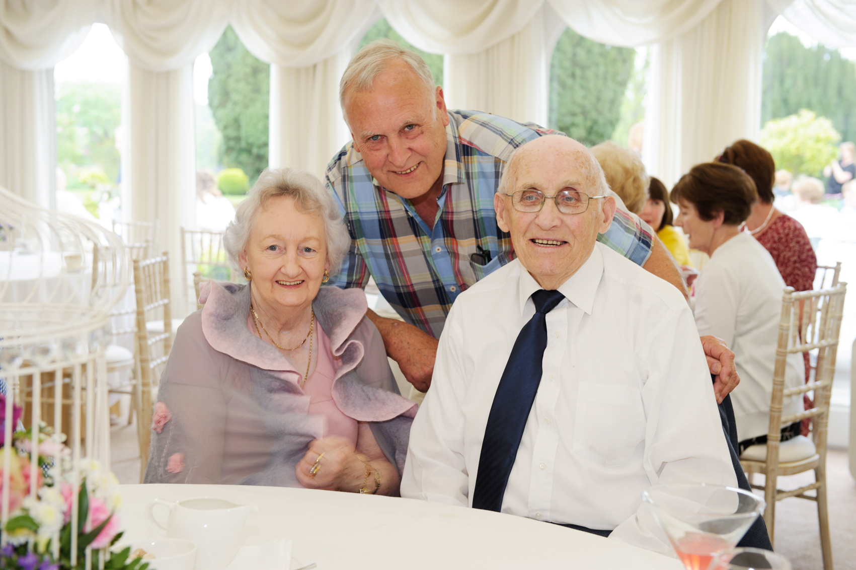 Eddie Quinlan with Paddy and Alice Connolly at the tea-party at Castle Leslie. ©Rory Geary/The Northern Standard