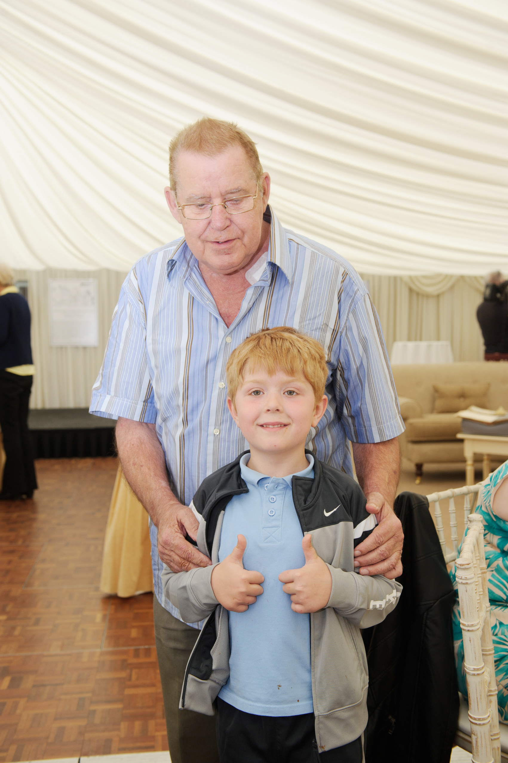 Brendan and Kevin McKenna at the tea-party at Castle Leslie last week. ©Rory Geary/The Northern Standard