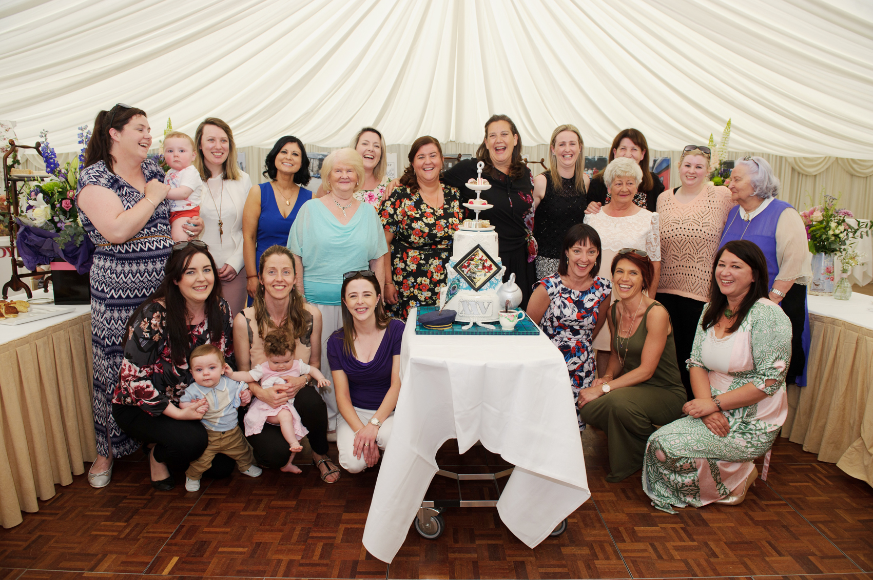 Sammy Leslie, centre, with some of the past staff members, at the victorian tea-party to celebrate the 25th anniversary of the opening of the tea-rooms at Castle Leslie. ©Rory Geary/The Northern Standard