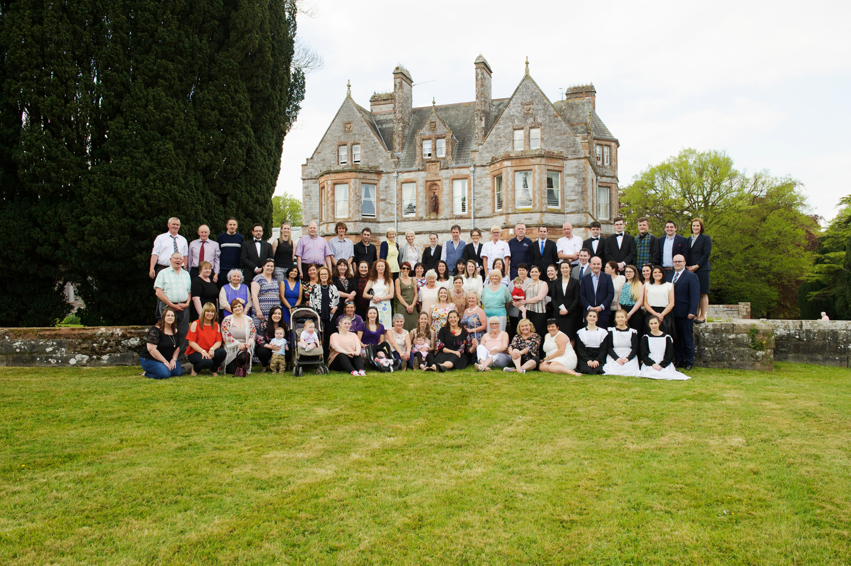 Sammy Leslie, centre front, with some of the past and current staff of Castle Leslie at the victorian tea-party that was held to celebrate 25 years of the tea-rooms at the castle. ©Rory Geary/The Northern Standard