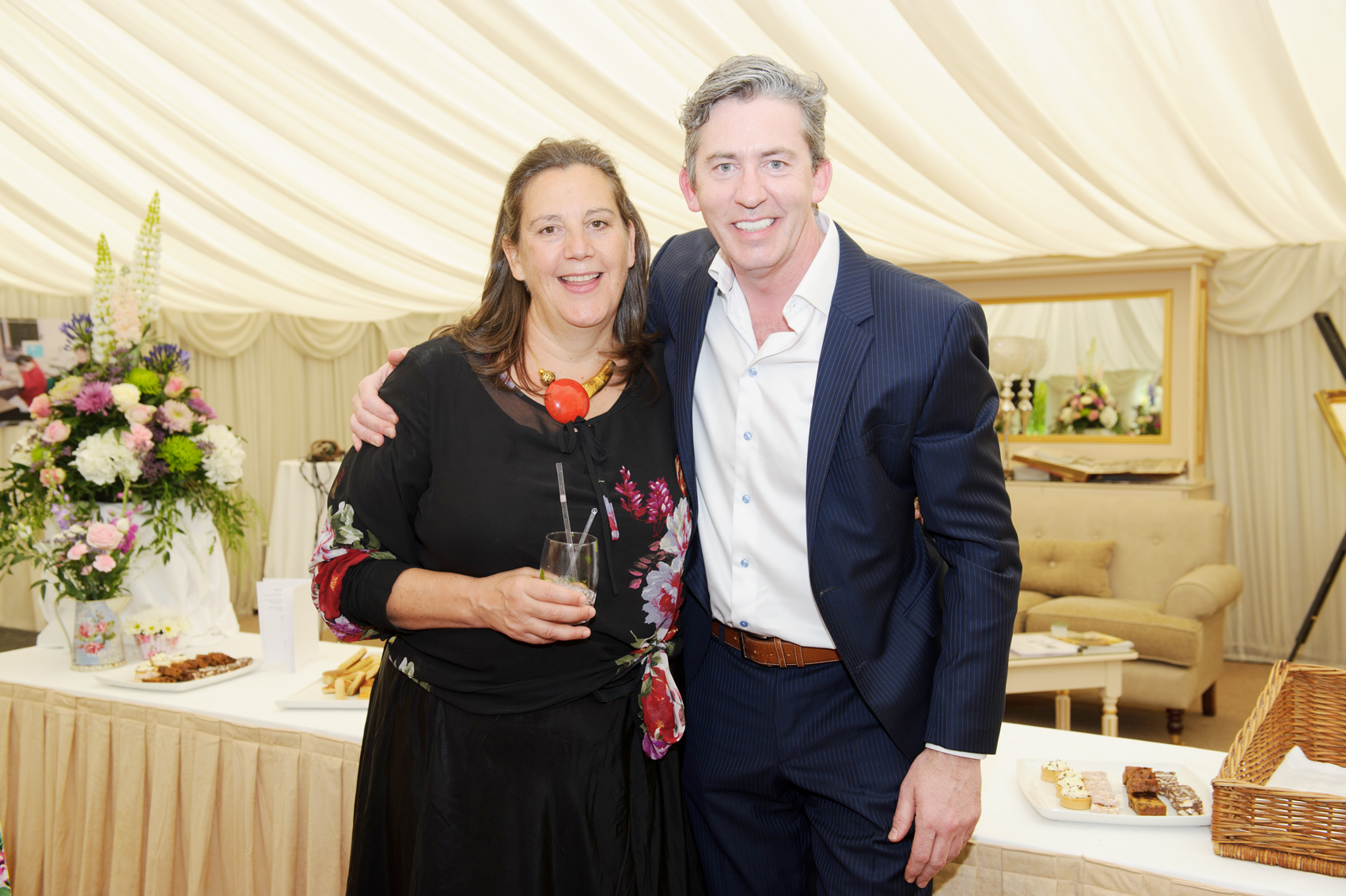 Noel McMeel with Sammy Leslie at the victorian tea-party at Castle Leslie, to celebrate 25 years of the tea-rooms at the castle. ©Rory Geary/The Northern Standard