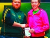 Niamh Malone U-16 female gets an award from Paddy Conlon, after the Super Valu 5k Walk/Run in Castleblayney on Sunday last. Picture: Jimmy Walsh