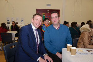 Principal of Castleblayney College Niall McVeigh, left, with Shane Moran at The Young Americans performance. ©Rory Geary/The Northern Standard