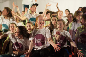 Some of the group taking part in the performance with The Young Americans. ©Rory Geary/The Northern Standard