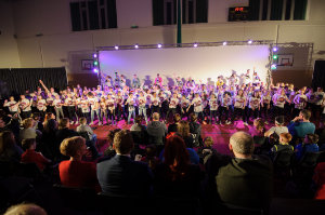 The group the took part in the performance with The Young Americans on stage in Castleblayney College. ©Rory Geary/The Northern Standard
