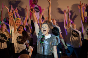 One of the students during the performance at Castleblayney College, along with The Young Americans. ©Rory Geary/The Northern Standard