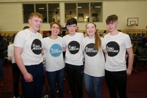 Pictured at Castleblayney College were (L-R) Niall, Coleen Bunt from The Young Americans, Ian, Megan from The Young Americans and Killian. ©Rory Geary/The Northern Standard