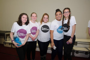 At Castleblayney College were (L-R) Aoife Sherrif, Roisin Cooney, Brooklyn from The Young Americans, Ayisha and Katie. ©Rory Geary/The Northern Standard