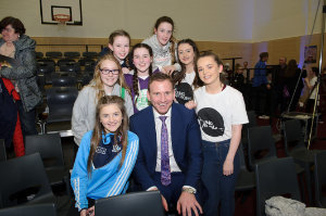 Principal of Castleblayney College, Niall McVeigh, with some of the students who took part in the workshop and performance with The Young Americans. ©Rory Geary/The Northern Standard