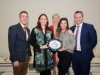 At Castleblayney College were (L-R) Ryan Moffett, The Young Americans, Claire O'Reilly, Castleblayney College, Frances King, Deputy Principal, Castleblayney College, Brooke Thompson, The Young American's and Niall McVeigh, Principal, Castleblayney College. ©Rory Geary/The Northern Standard