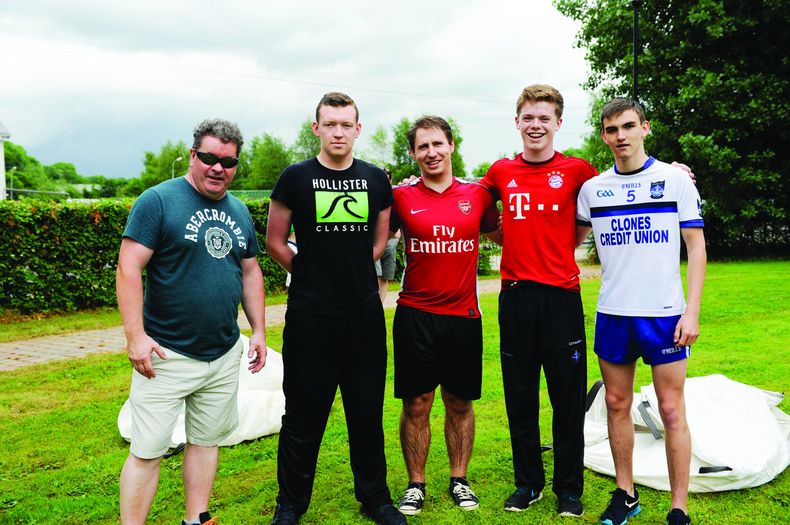 The winners of the It's A Knockout with Rory McMahon, coordinator of the event. (L-R) Rory McMahon, Christopher Cadden, David, Luke Rehill and Caolan McDonald. ©Rory Geary/The Northern Standard