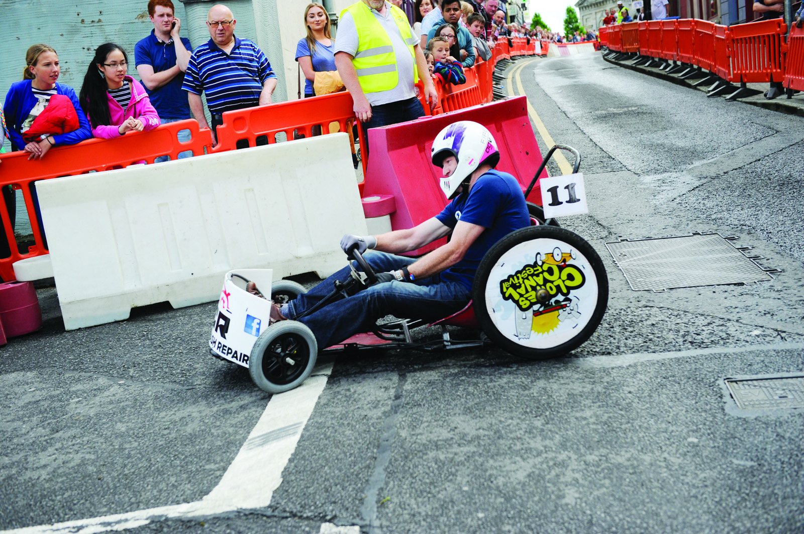 Damien Courtney during one his runs in the Clones Canal Festival soapbox race. ©Rory Geary/The Northern Standard