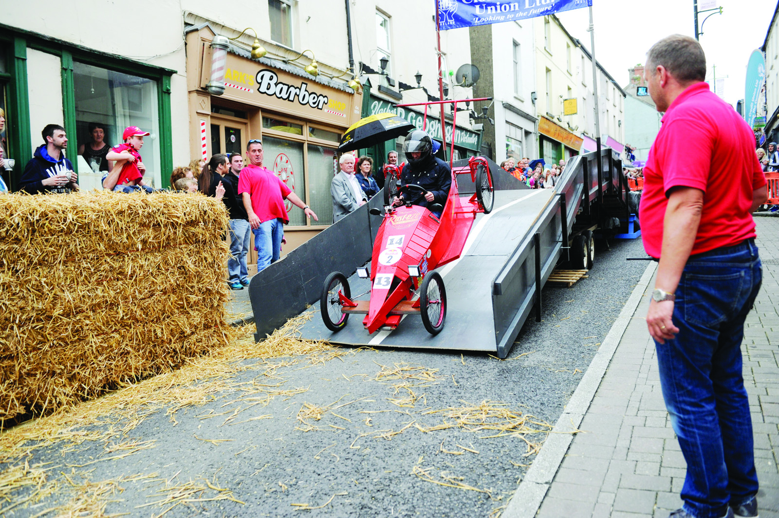 Lightening McQueen going over the ramp during the soapbox race. ©Rory Geary/The Northern Standard