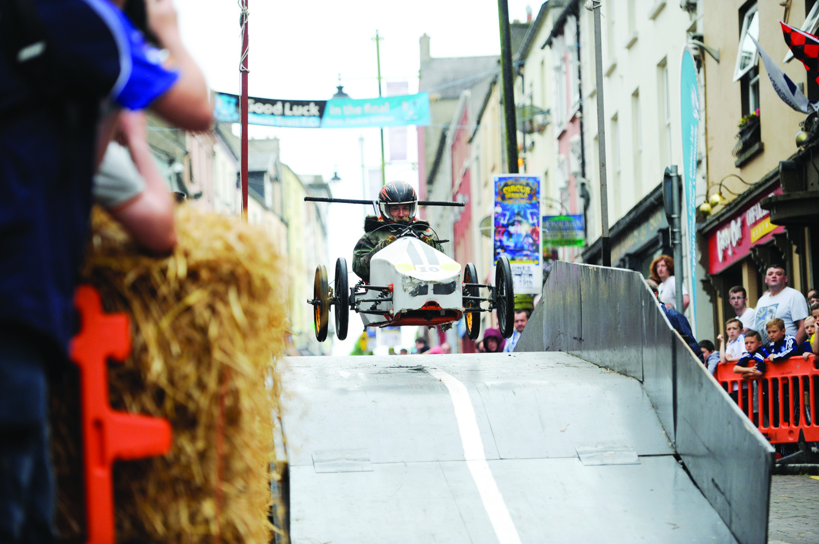 The Gypsy Blood soapbox going over the ramp during the race. ©Rory Geary/The Northern Standard