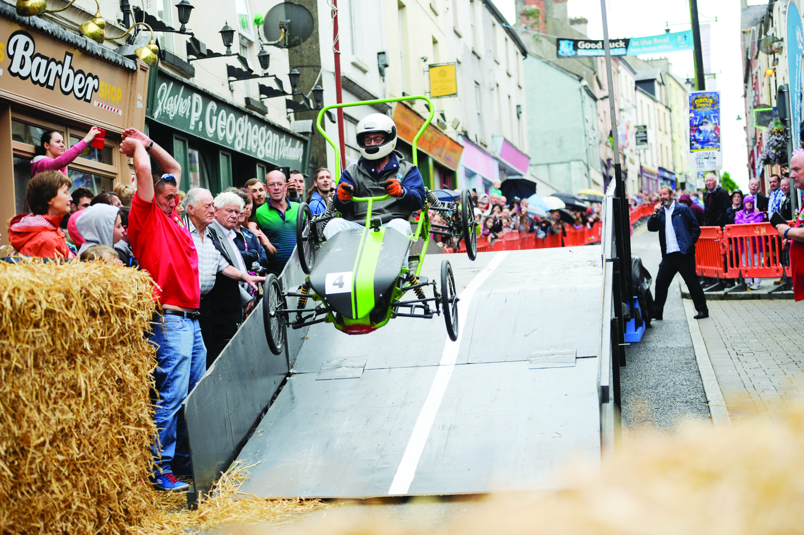 Patrick Orbeirne in Sidewinder going over the ramp at the Clones Canal Festival. ©Rory Geary/The Northern Standard