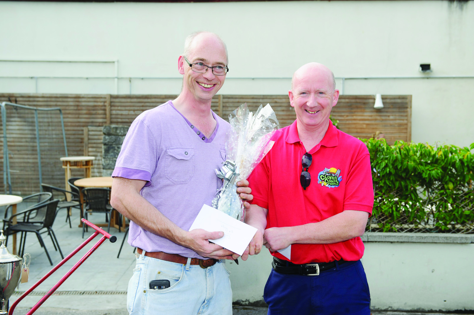Padraig Geoughan, right, Clones Credit Union, making the presentation to runner-up Patrick O'Beirne. ©Rory Geary/The Northern Standard