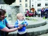Eoin McMahon and Caroline Macklin playing with a bubble gun at the Clones Canal Festival. ©Rory Geary/The Northern Standard