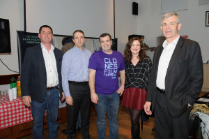 """At the opening night of the Clones Film Festival were (L-R) Bernard McNally, SuperValu Clones, Kevin McNally, Ballybay Clones Municipal District, James Sheerin, Clones Film Festival, Mairéad Ní Thréinir, Director """"Tit For Tatt"""" and Adge King, Monaghan County Council. ©Rory Geary/The Northern Standard"""