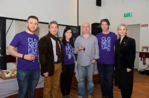 """At the opening night of the Clones Film Festival were (L-R) Ciaran Morgan, Kevin V Mulligan, Paula McQuillian, Dara McCluskey, Director of """"Monaghan Gothic"""", Seamie McMahon, chairman, Clones Film Festival and Shirley Clerkin. ©Rory Geary/The Northern Standard"""