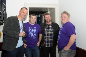 At the opening night of the Clones Film Festival were (L-R) Tomas Zechner, James Sheerin, John James McDonnell and Paddy McCabe. ©Rory Geary/The Northern Standard