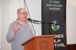 """Dara McCluskey, director of """"Monaghan Gothic"""" introducing the film at the opening night of Clones Film Festival at Clones Courthouse. ©Rory Geary/The Northern Standard"""