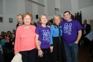 At the opening night of the Clones Film Festival in Clones Courthouse were (L-R) Rosemary McCarville, Siobhan Sheerin, Niamh Smyth TD and James Sheerin. ©Rory Geary/The Northern Standard