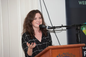 """Mairéad Ní Thréinir, who produced and directed """"Tit For Tatt"""" introducing her film at the opening night of the Clones Film Festival at the Clones Courthouse. ©Rory Geary/The Northern Standard"""