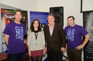 """At the closing night of the Clones Film Festival were (L-R) Seamie McMahon, chairman, Mairéad Ní Thréinir, Director of """"Tit For Tatt"""", Cllr Pat Treanor and James Sheerin. ©Rory Geary/The Northern Standard"""