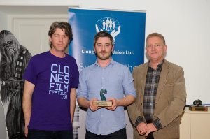 """At the presentation of the Francie to Padraig Conaty for """"You're Not A Man At All"""" at the closing night of the Clones Film Festival were (L-R) Seamie McMahon, chairman, Clones Film Festival, Padraig Conaty and Brendan Jenkins, Clones Credit Union. ©Rory Geary/The Northern Standard"""