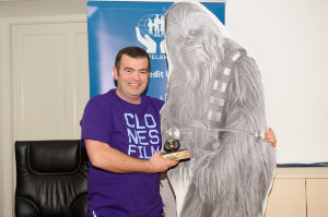 """James Sheerin making the presentation of the Best Animation Francie to Tubacca, on behalf of """"Panic Attack"""". ©Rory Geary/The Northern Standard"""