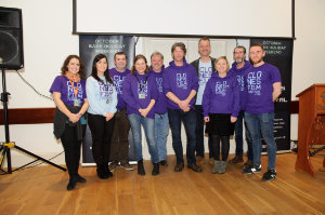 Members of the Clones Film Festival committee at the closing night at Clones Courthouse were (L-R) Geraldine Zechner, Paula McQuillian, James Sheerin, Catherine Sheerin-O'Harte, Paddy McCabe, Seamie McMahon, chairman, Tomas Zechner, Siobhan Sheerin, Stephen McKenna and Ciaran Morgan. ©Rory Geary/The Northern Standard