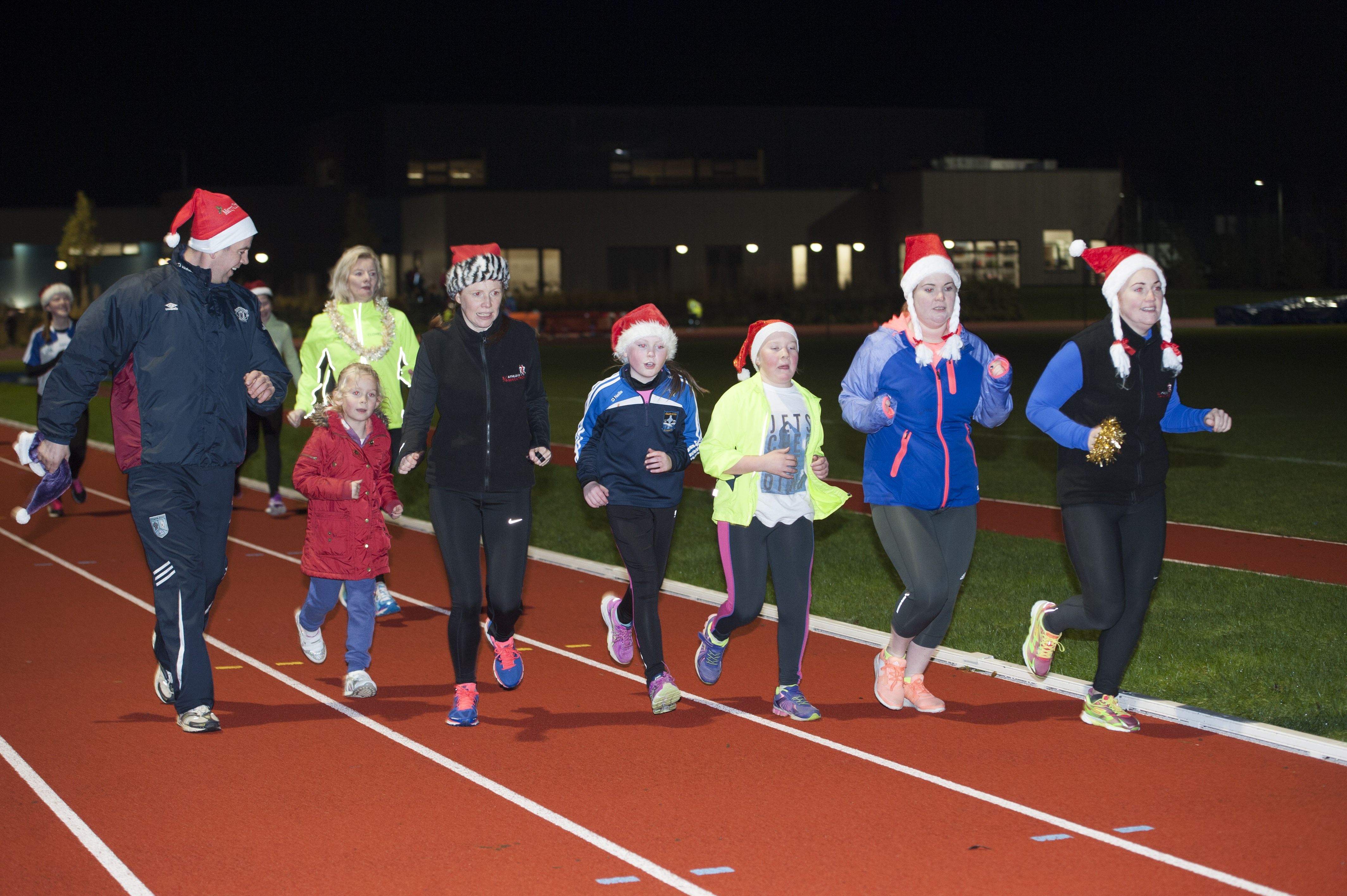 Some of the runners taking part in the Clones AC Santa run at The Peacelink. ©Rory Geary/The Northern Standard