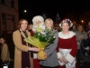 Eileen McManus, left, Ballybay Clones Municipal District,making a presentation of a bouquet of flowers to Michelle Reinhart-McCabe, who officially switched on the Clones Town Christmas Lights, last Saturday. Also included is Mr and Mrs Santa Claus, who helped with the switch-on. ©Rory Geary/The Northern Standard